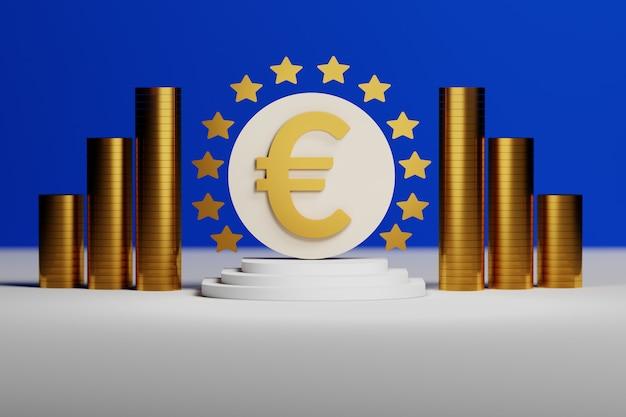 Sinal de euro com moedas de ouro em fundo azul Foto Premium
