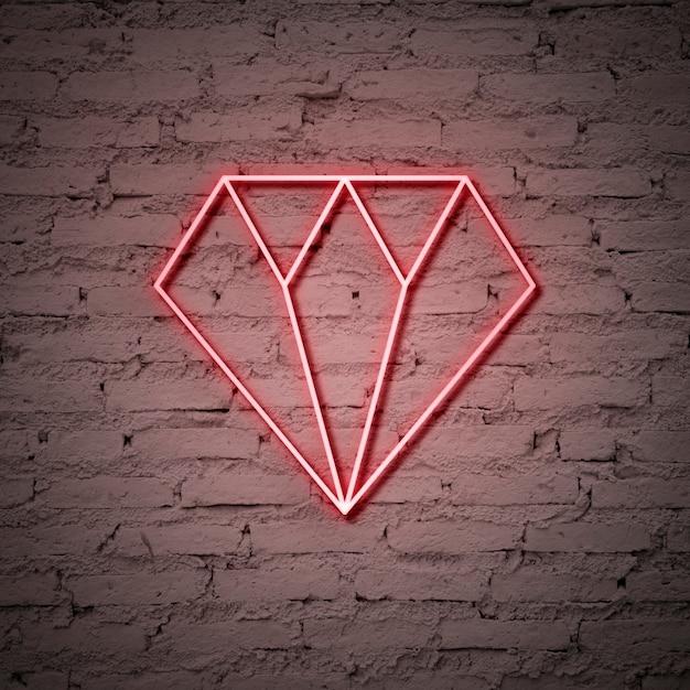 Sinal de néon do diamante Foto gratuita