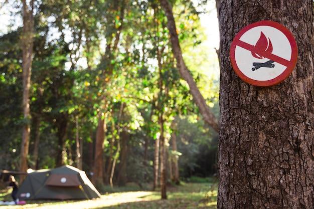 Sinal de perigo de fogo na árvore. ícone da proibição de risco de incêndio na floresta. é proibido acender uma fogueira em uma barraca de acampamento em um parque natural. pare de queimar os recursos da natureza. prevenir o desmatamento Foto Premium