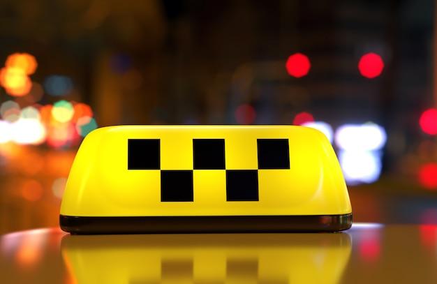 Sinal de táxi com verificador Foto Premium