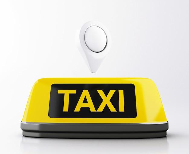 Sinal do táxi 3d e ponteiro amarelos do mapa. pedido de táxi online. Foto Premium