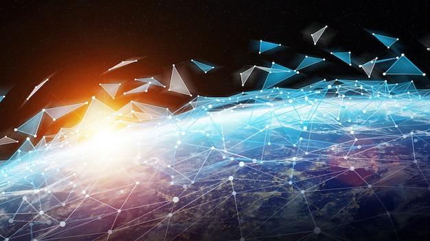 Sistema de conexões e troca de dados na renderização 3d do planeta terra Foto Premium