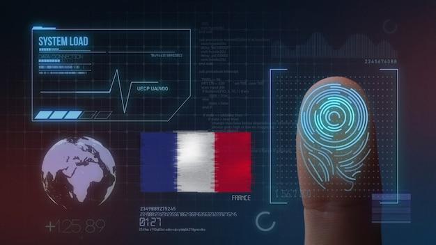 Sistema de identificação de digitalização biométrica por impressão digital. frança nacionalidade Foto Premium