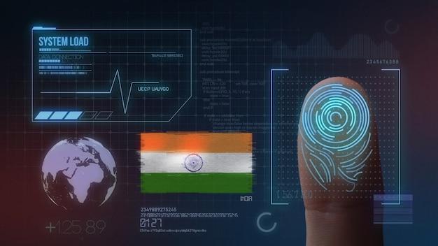 Sistema de identificação de digitalização biométrica por impressão digital. índia nacionalidade Foto Premium
