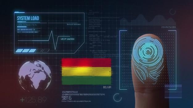 Sistema de identificação de digitalização biométrica por impressão digital. nacionalidade da bolívia Foto Premium