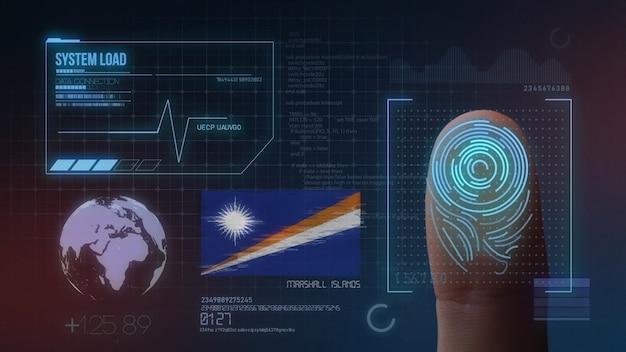 Sistema de identificação de digitalização biométrica por impressão digital. nacionalidade das ilhas marshall Foto Premium