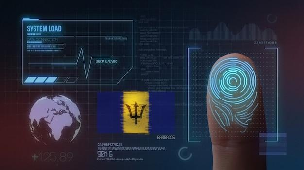Sistema de identificação de digitalização biométrica por impressão digital. nacionalidade de barbados Foto Premium