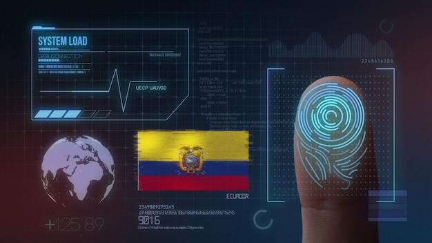 Sistema de identificação de digitalização biométrica por impressão digital. nacionalidade do equador Foto Premium
