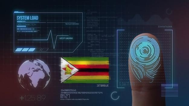 Sistema de identificação de digitalização biométrica por impressão digital. nacionalidade do zimbábue Foto Premium