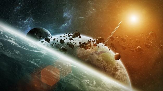 Sistema de planeta distante no espaço de renderização 3d Foto Premium