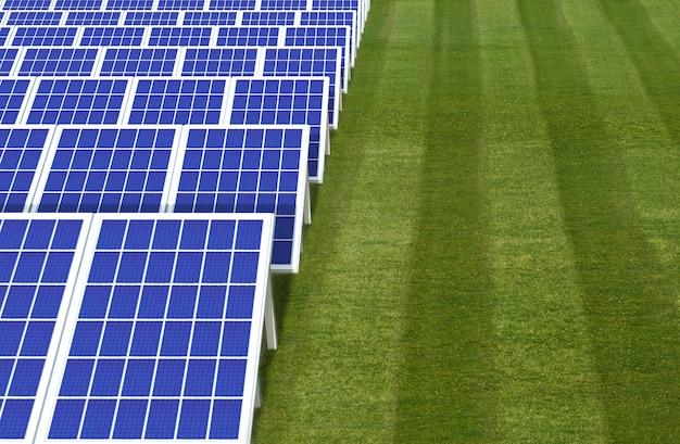 Sistema gerador de energia elétrica, fazenda de campo de painéis de células solares Foto Premium