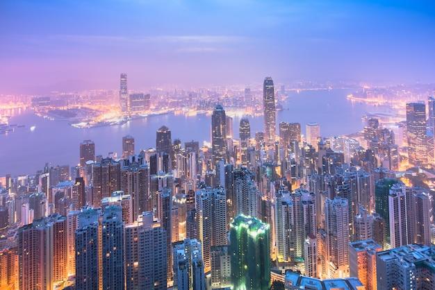 Skyline da cidade de hong kong no nascer do sol. Foto Premium