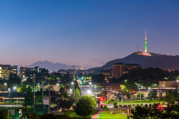 Skyline da cidade de seul Foto Premium