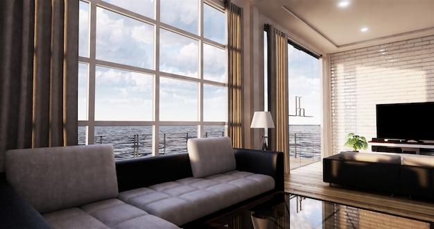 Smart tv mockup com tela preta em branco pendurado na decoração do armário, estilo zen moderna sala de estar. renderização em 3d Foto Premium