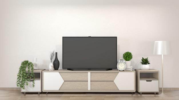Smart tv na sala de estar zen com estilo minimalista de decoração. renderização em 3d Foto Premium