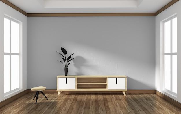 Smart tv no design de sala de estilo vazio .3d rednering Foto Premium