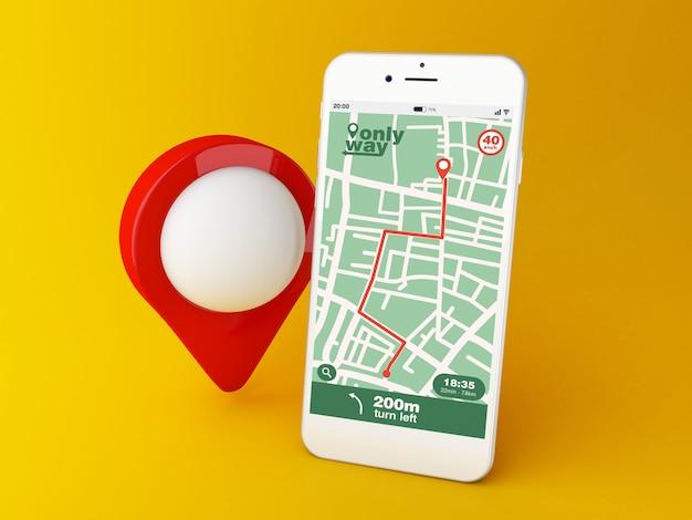 Smartphone 3d com aplicativo de navegação de mapa gps com rota planejada na tela Foto Premium