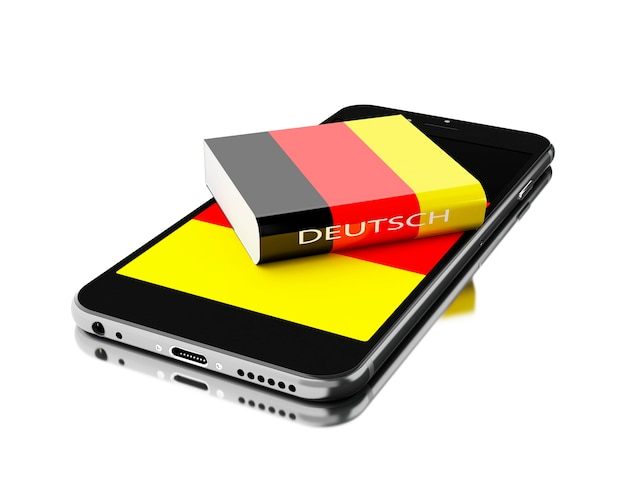 Smartphone 3d com livro de alemanha. aprendendo idiomas. Foto Premium