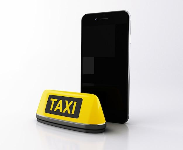 Smartphone 3d com sinal de táxi amarelo. Foto Premium