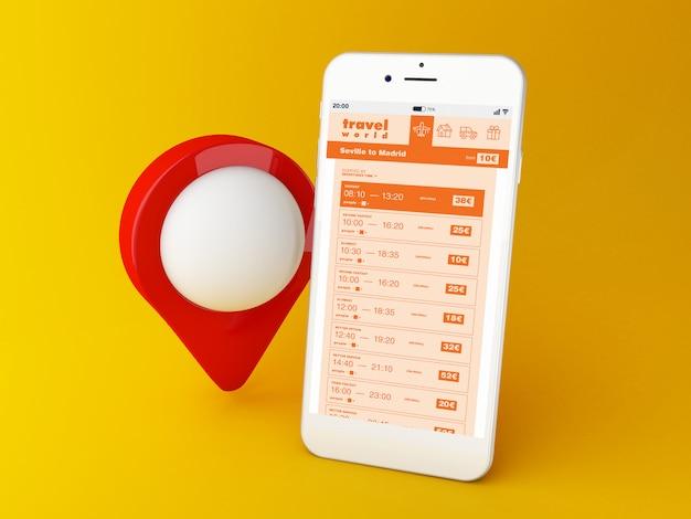 Smartphone 3d com web para comprar passagens aéreas no aplicativo móvel Foto Premium