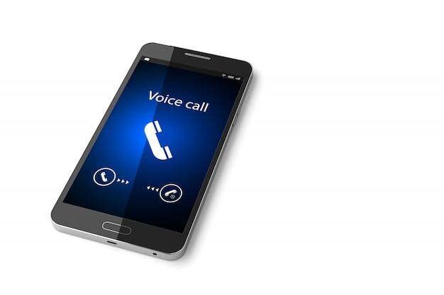 Smartphone com chamada recebida na exibição de renderização em 3d Foto Premium