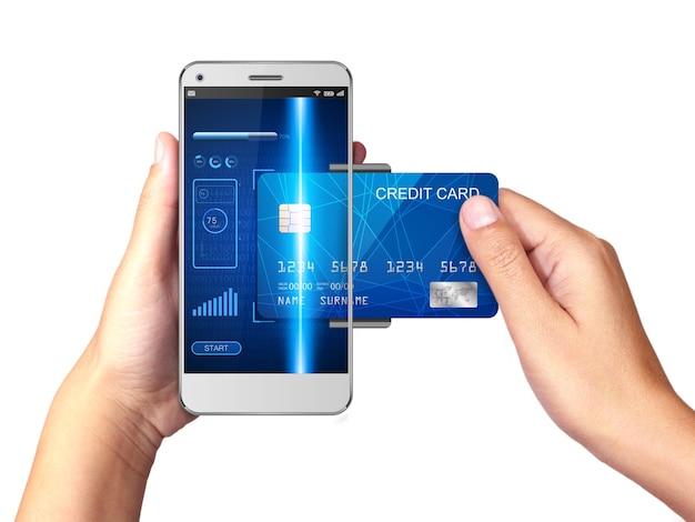 Smartphone com pagamentos do cartão de crédito Foto Premium
