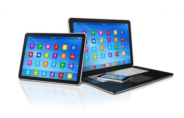 Smartphone, computador tablet digital e laptop Foto Premium