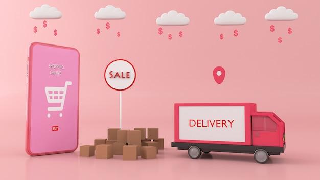 Smartphone para inserir conteúdo rodeado por sacolas, carrinhos de compras, renderização em 3d Foto Premium
