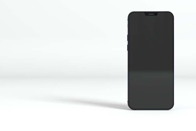 Smartphone preto em fundo branco Foto gratuita
