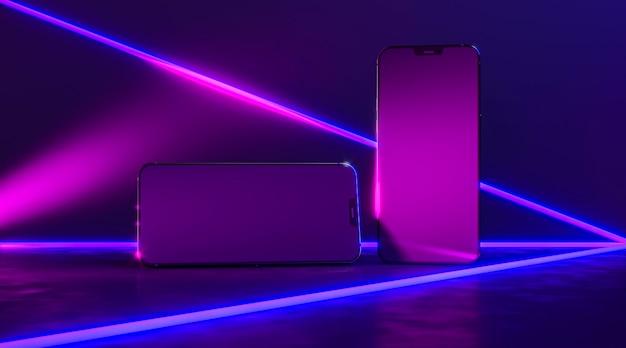 Smartphones com linhas neon Foto gratuita