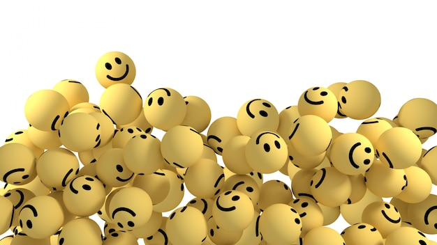 Smiley reações emoji 3d render Foto Premium