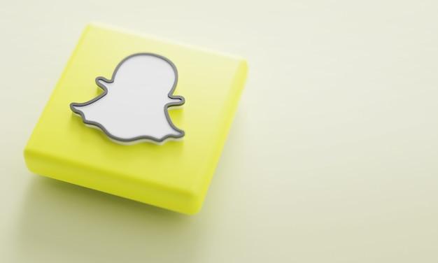 Snapchat logo 3d rendering close-up. modelo de promoção de conta. Foto Premium