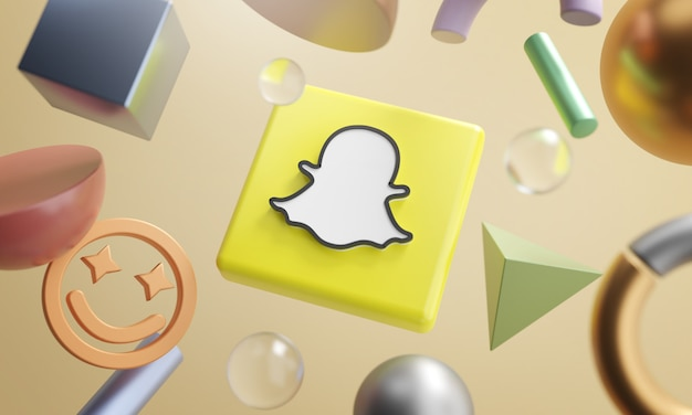 Snapchat logo around 3d rendering abstract shape background Foto Premium