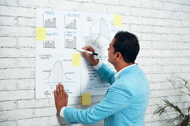 Sobre o tiro do ombro do homem de negócios, desenhando diagramas na parede Foto gratuita
