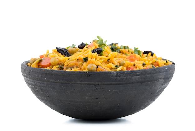 Sobremesa tradicional indiana veg biryani Foto Premium