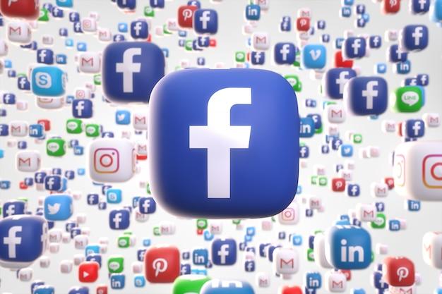 Social media networking app random 3d icons Foto Premium