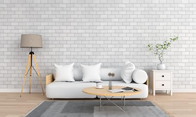 Sofá branco na sala de estar Foto Premium