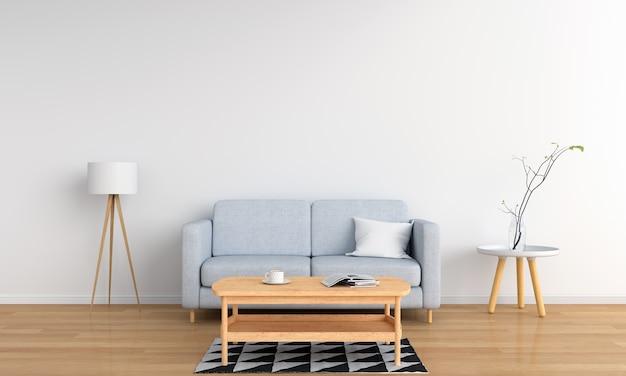 Sofá cinza e lâmpada na sala branca Foto Premium