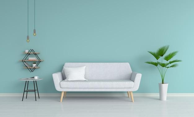 Sofá cinza e travesseiro na sala de estar, renderização em 3d Foto Premium