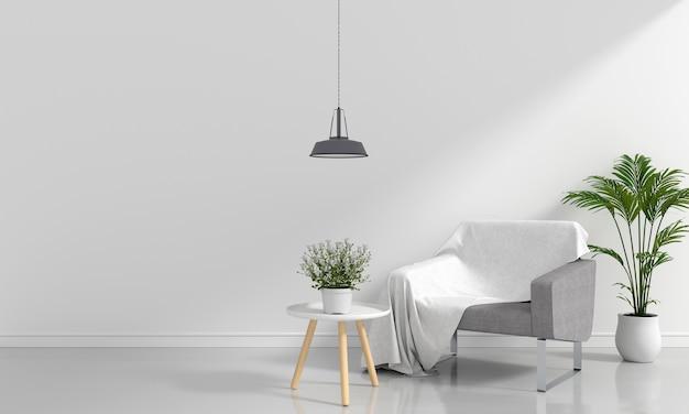 Sofá cinza na sala branca para maquete Foto Premium