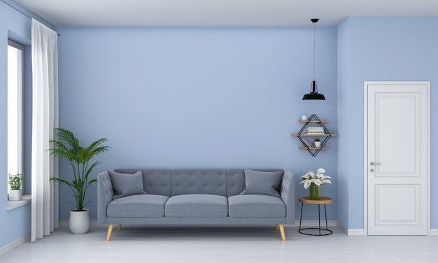 Sofá cinza na sala de estar azul Foto Premium