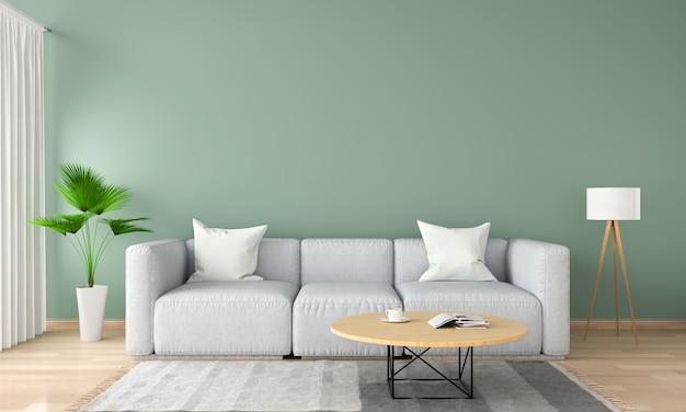 Sofá cinza na sala verde, renderização em 3d Foto Premium
