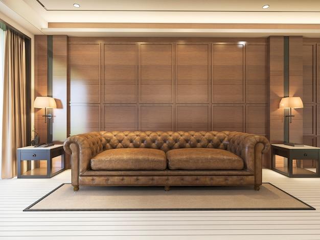 Sofá clássico de renderização 3d com decoração de luxo e mobiliário agradável Foto Premium