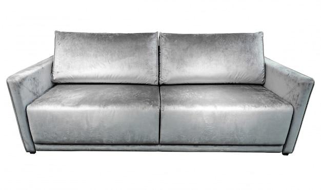 Sofá de veludo cinzento prateado com almofadas. Foto Premium