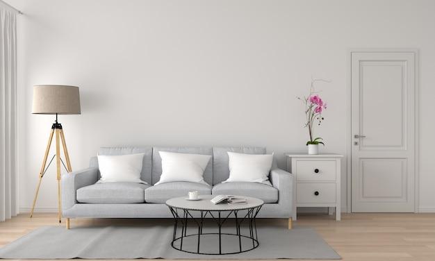 Sofá e lâmpada na sala de renderização em 3d Foto Premium