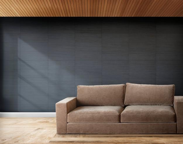 Sofá marrom em uma sala com paredes cinza Foto gratuita