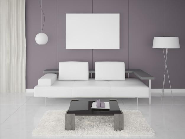 Sofá moderno, poster na sala de estar contemporânea Foto Premium