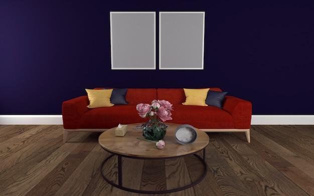 Sofá vermelho com mesa redonda e maquete de moldura de parede 3d renderizados interior da moderna sala de estar Foto Premium