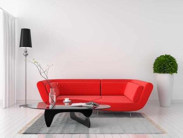 Sofá vermelho no interior do quarto branco Foto Premium
