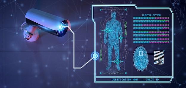 Software de reconhecimento e detecção em um sistema de câmera de segurança - renderização em 3d Foto Premium